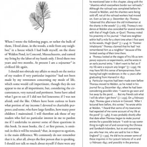 Recto page of Jeffrey S. Cramer's 2004 edition of Walden, an eclectic edition with a clear reading text on the left and notes on the right.
