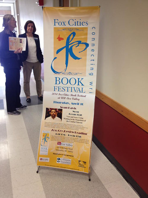 A banner advertising Sean's reading at the Fox Valley Book Festival